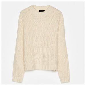 NWT. Bershka Ivory Chunky Knit Sweater. Size M.